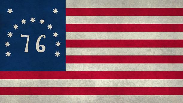 American Bennington flag with worn distressed textures stock photo