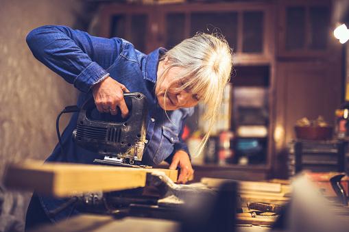 American blue collar worker in a workshop