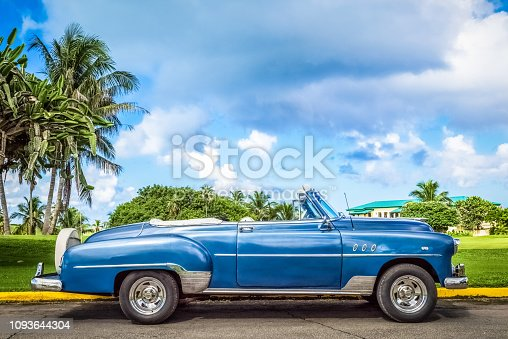 American blue convertible vintage car parked on the golf club in Varadero Cuba - Serie Cuba Reportage