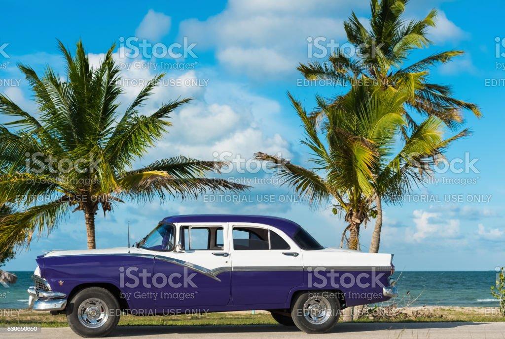 American blue Ford Fairlane classic car parked on the Malecon near the beach in Havana Cuba - Serie Cuba Reportage stock photo