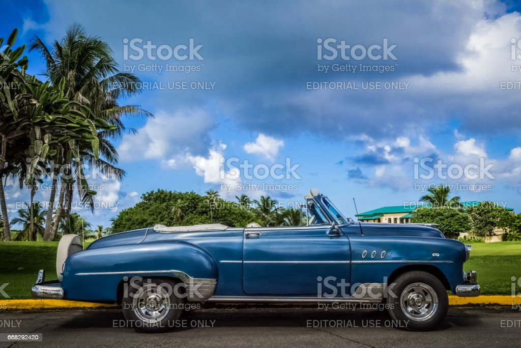 American blueclassic car parked in Varadero Cuba stock photo