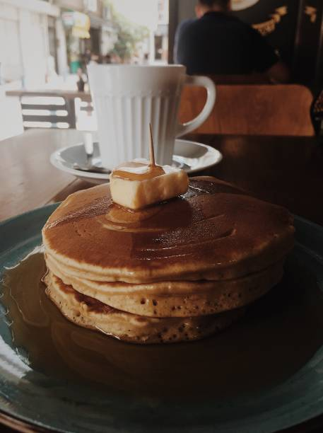 American breakfast with pancakes and coffee stock photo