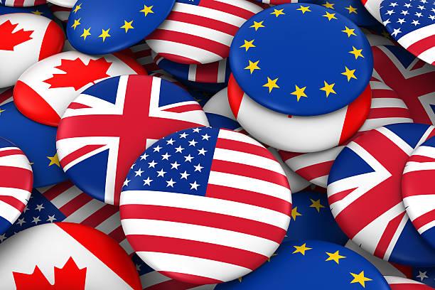 American, British, Canadian and European Flag Badge Pile stock photo