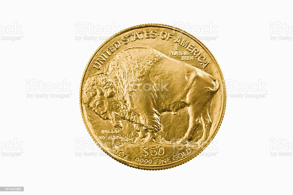 American Buffalo 24-karat gold bullion investment coin royalty-free stock photo