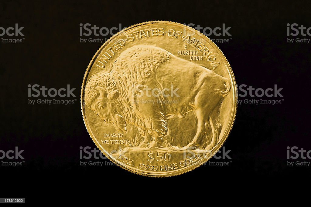 American Buffalo 24-karat gold bullion investment coin royalty-free stock photo