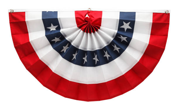 American Bunting Stars and Stripes USA Pleated Bunting Isolated on White Background. fourth of july photos stock pictures, royalty-free photos & images
