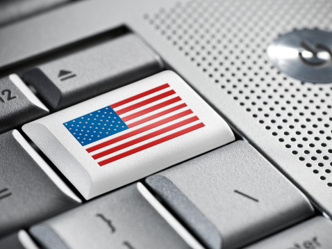 American Business On A Laptop Stock Photo - Download Image Now
