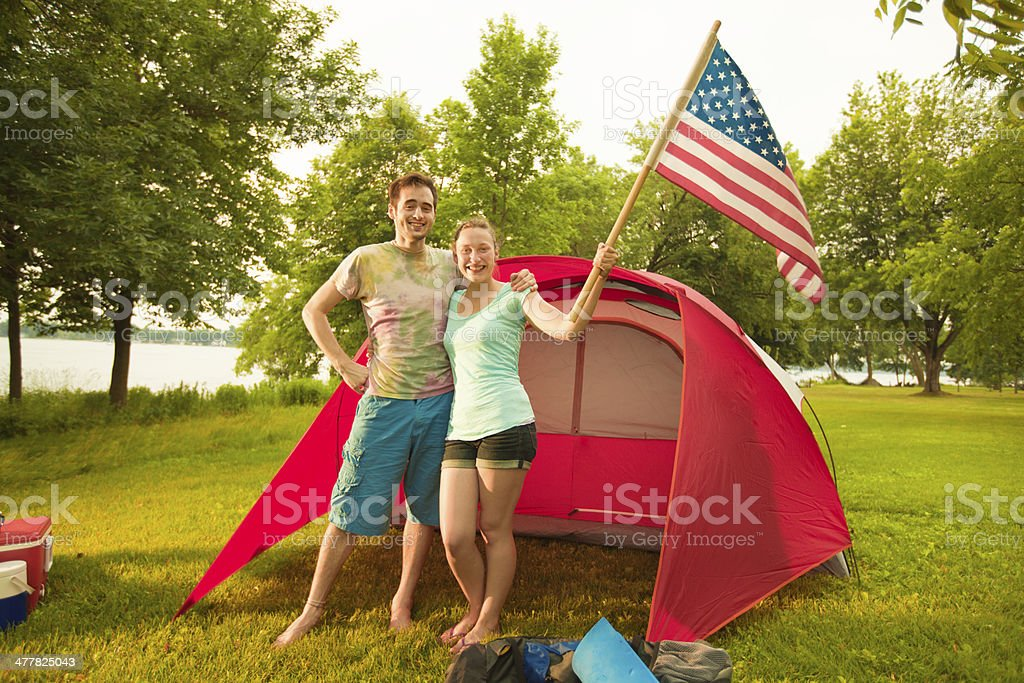 American Camping Couple with Tent in Campsite stock photo
