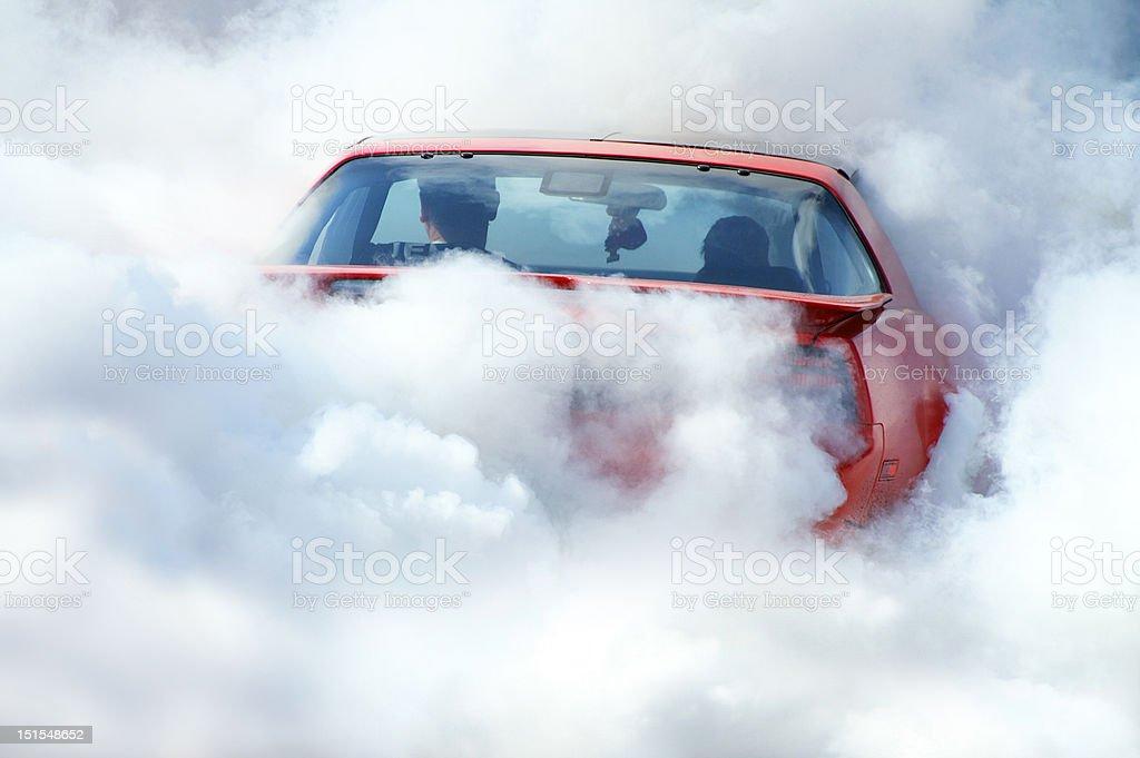 American car in smoke stock photo