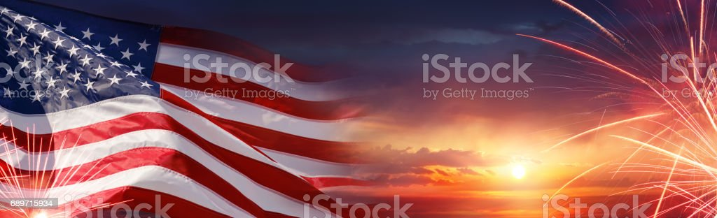 American Celebration Background With Us Flag Usa Flag And Fireworks At Sunset American Culture Stock Photo