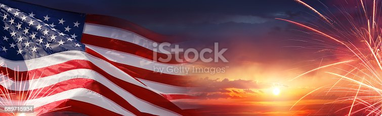 istock American Celebration Background With Us Flag 689715934