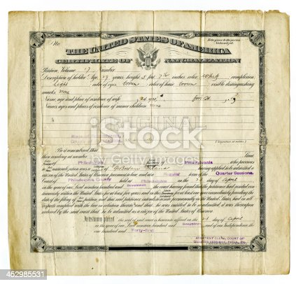 american certificate of naturalization form 1917 - all personal information removed.