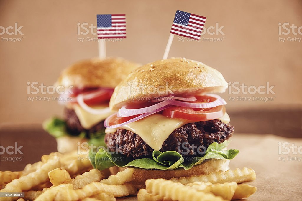 American Cheese Burger with French Fries and Cola stock photo