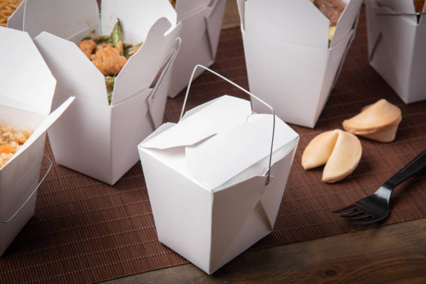 american chinese food togo container stock photo
