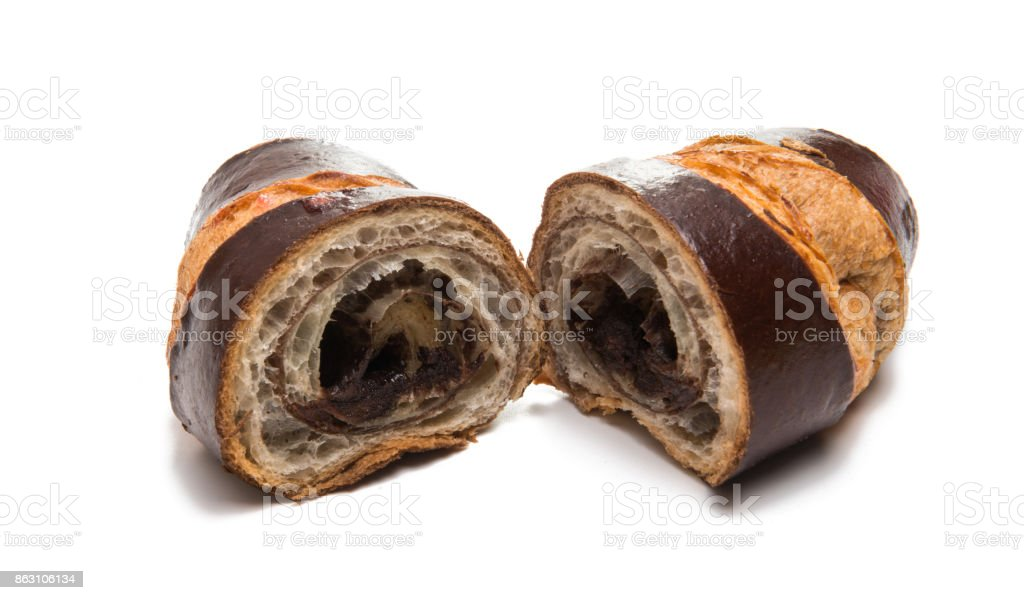 american chocolate croissant isolated stock photo