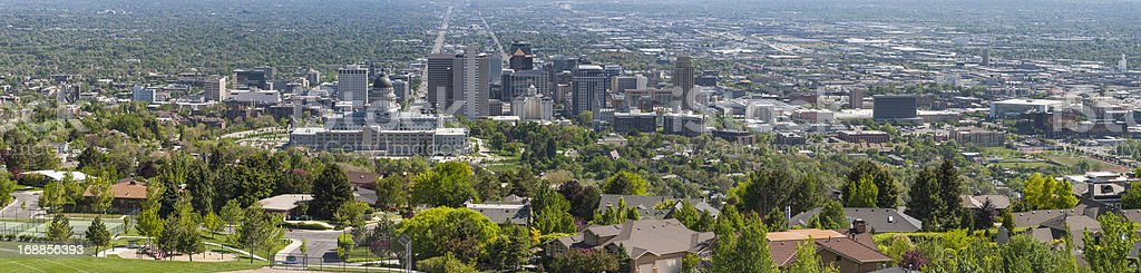 American cityscape panorama downtown skyscrapers leafy suburbs stock photo