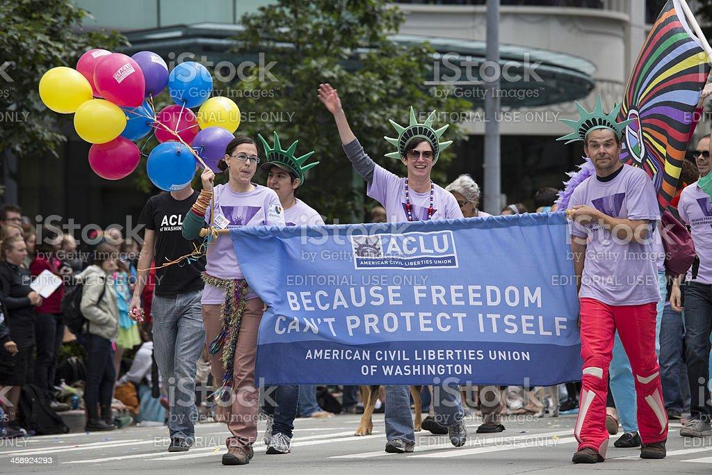 ACLU American Civil Liberties Union and Gay Pride Parade stock photo