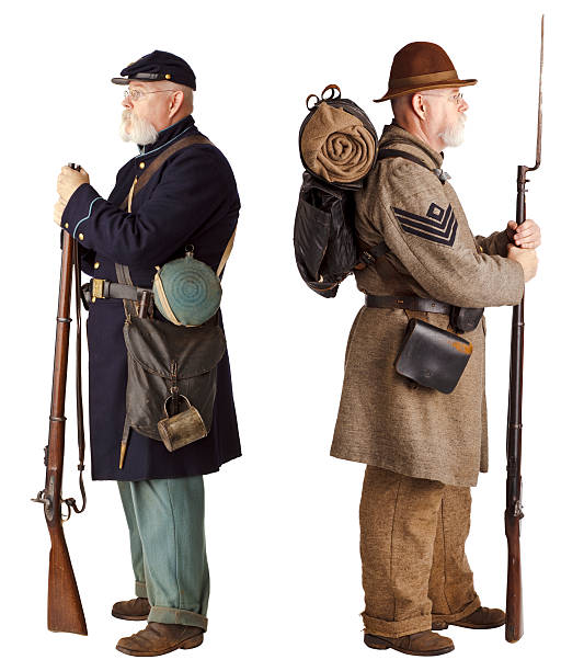 american civil war - brothers turning their back. - civil war stock photos and pictures