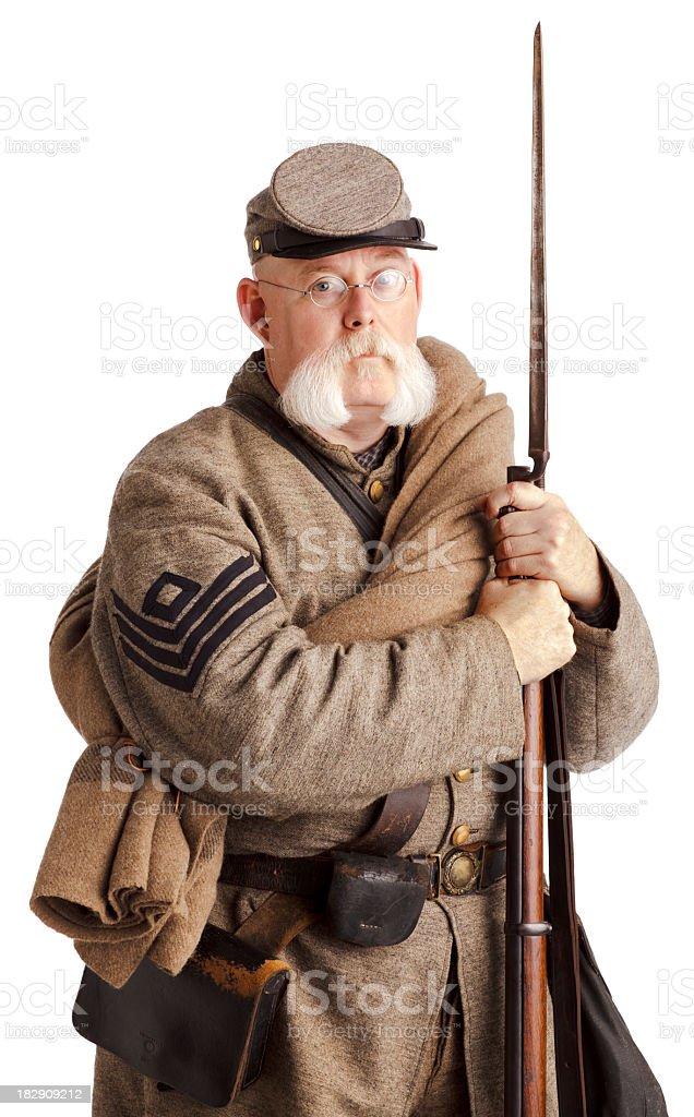 American Civil War Confederate Soldier on White. stock photo