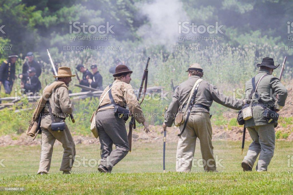 American Civil War Reenactment Four Confederate Soldiers