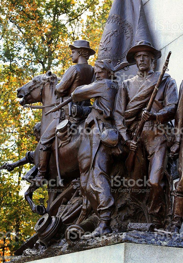 American Civil War Soldier Statue Gettysburg Battlefield stock photo