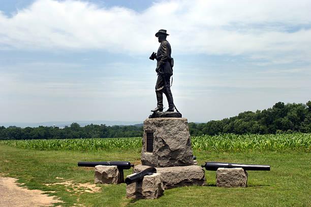 American Civil War Soldier Statue Gettysburg Battlefield  civil war memorial minnesota stock pictures, royalty-free photos & images