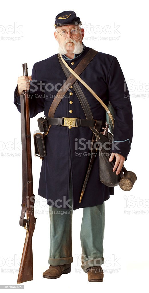 American Civil War Union Soldier, Isolated on White. royalty-free stock photo