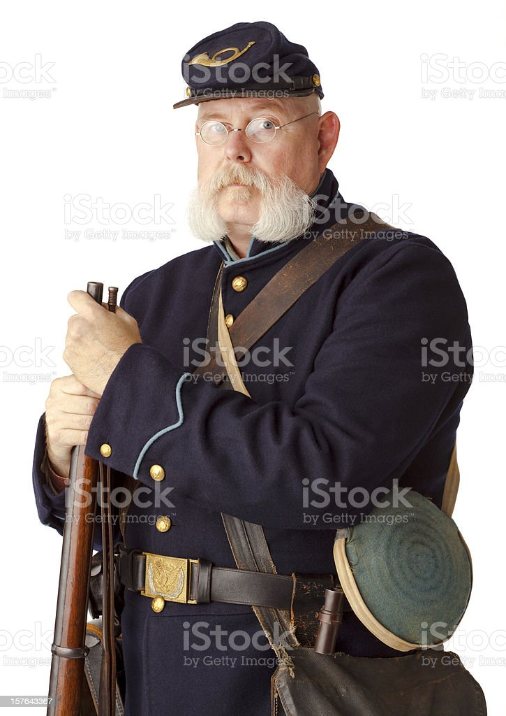 American Civil War Union Soldier on White background. royalty-free stock photo