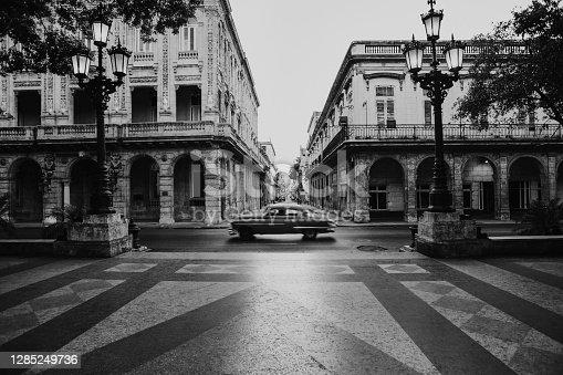American classic car at Paseo de Marti boulevard in Havana, Cuba