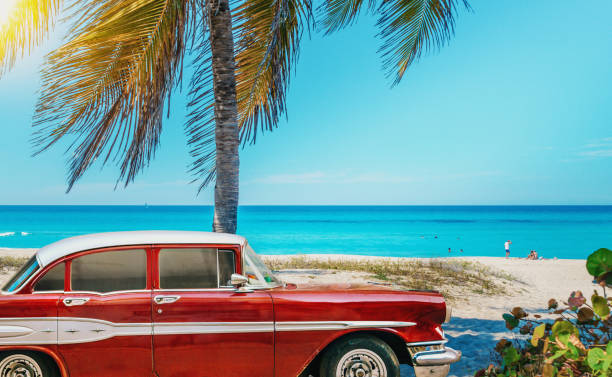 American Classic Car On The Beach Cuba Stock Photo