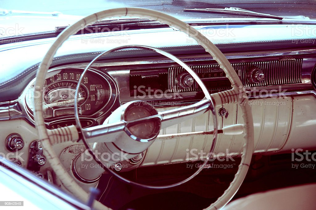 American classic car steering wheel royalty-free stock photo