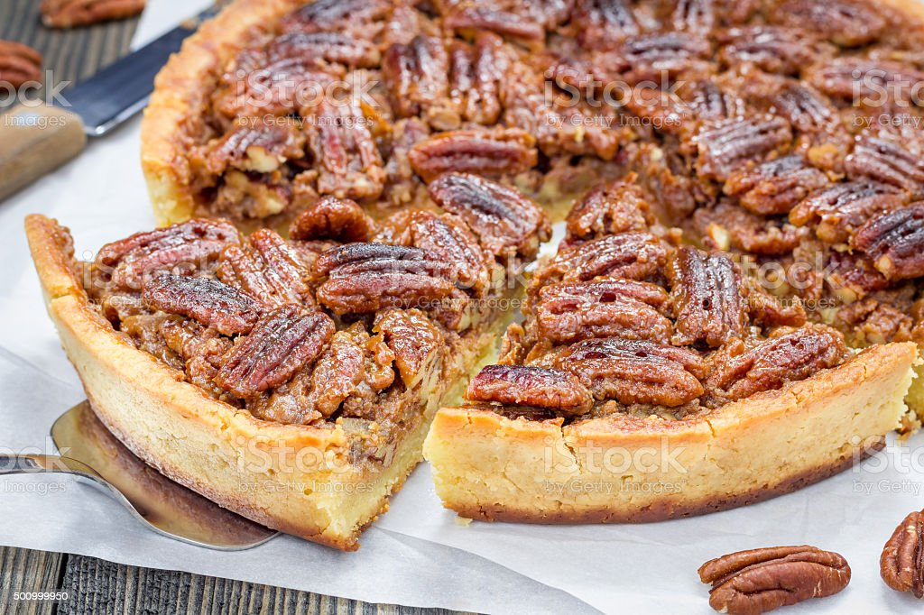 American classic homemade pecan pie stock photo