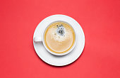 Americano Coffe Cup on Red Background