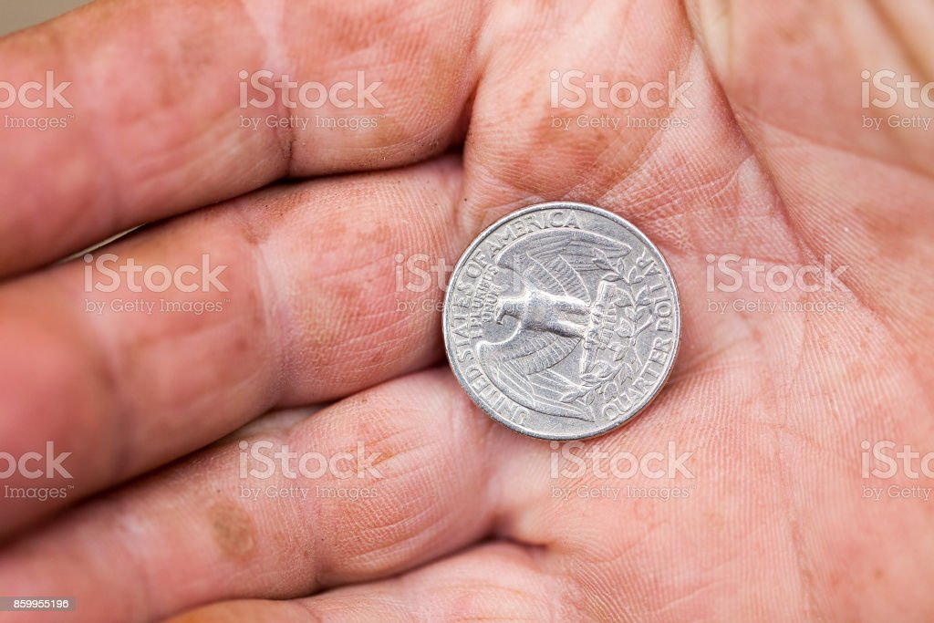 American coin in hand stock photo