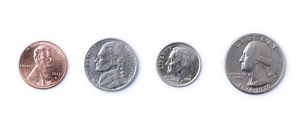 American Coins Penny, Nickel, Dime, Quarter - American coins dime stock pictures, royalty-free photos & images