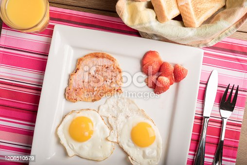 American continental breakfast sunny side up eggs bacon toasted bread fruits and juice on a simple colourful mantel on wooden table