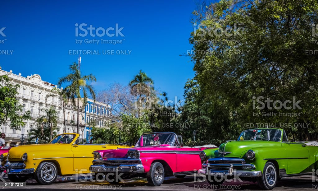 American convertible vintage cars line up in Havana Cuba stock photo