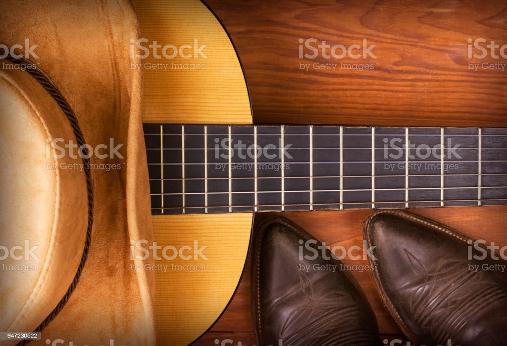 American Country music background with cowboy boots stock photo