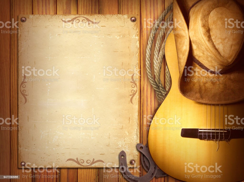 American Country music poster for text.Wood background with guitar...
