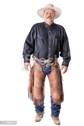 Middle Aged American Cowboy with Chaps