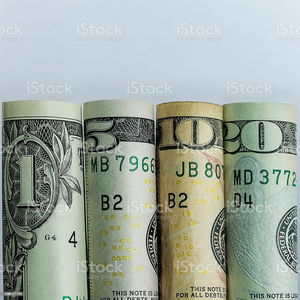 American Currency Lined Up foto royalty-free