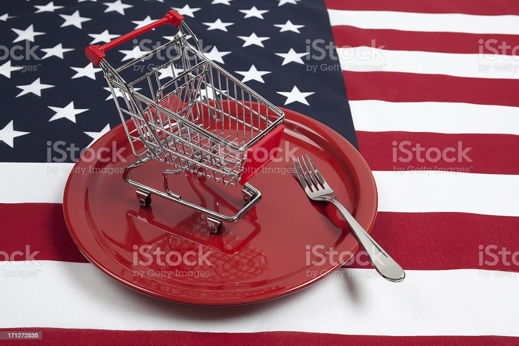 American Dinner Plate and Shopping Cart royalty-free stock photo