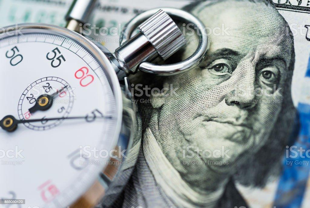 Amerikanische Dollar und Stop watch – Foto