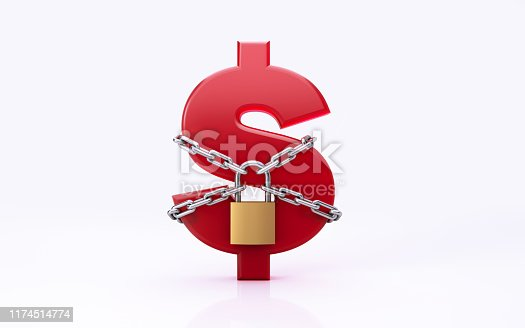 Red American Dollar sign chained and secured by a padlock on white background.  Great use for financial security concepts. Horizontal composition with copy space. Clipping path is included.