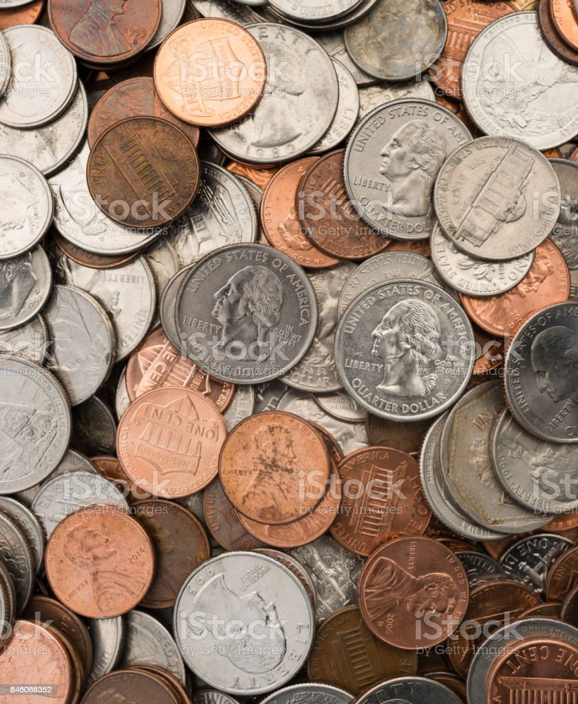 American Dollar Currency Coins Lay Flat Pennies Nickels Quarters Dimes stock photo