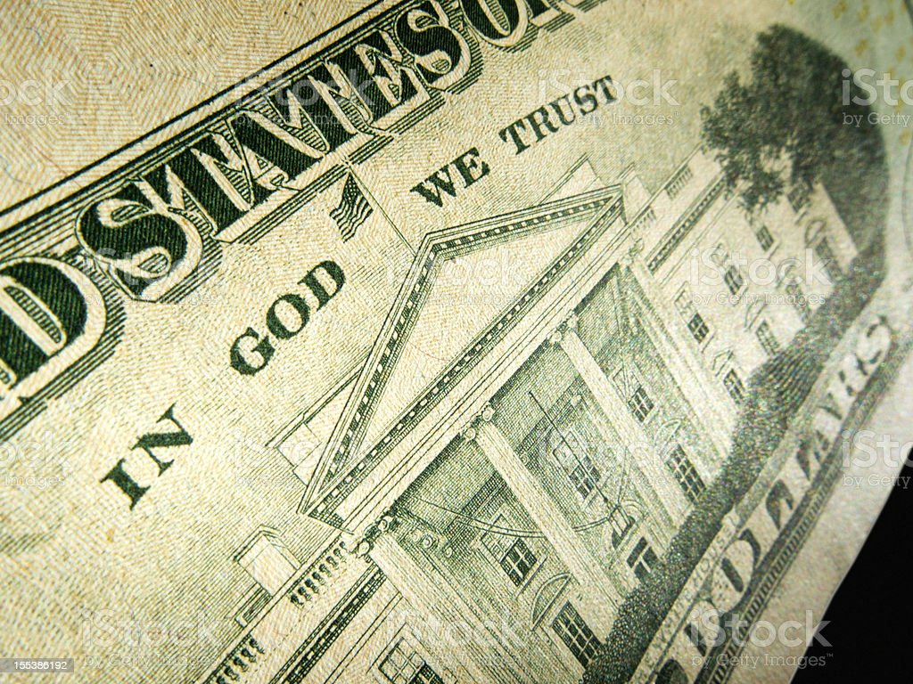American Dollar In God We Trust Inscription Highlighted stock photo