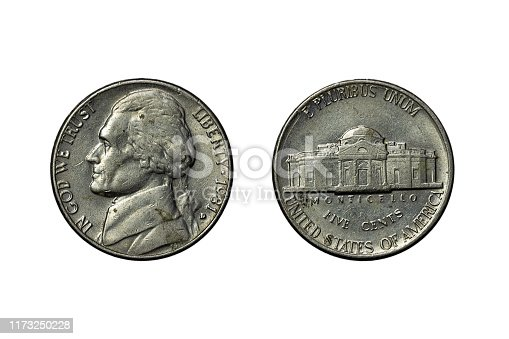 The old silver American dollar isolated on white background.