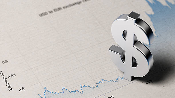american dollar sign on a blue financial graph - dollar symbol stock photos and pictures