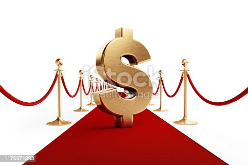872222012istockphoto American Dollar Sign Standing on A Red Carpet - First Class Banking and Finance Concept 1176671898