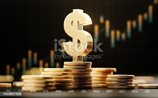 istock American Dollar Symbol With Financial Chart Over Dark Background 1043657526